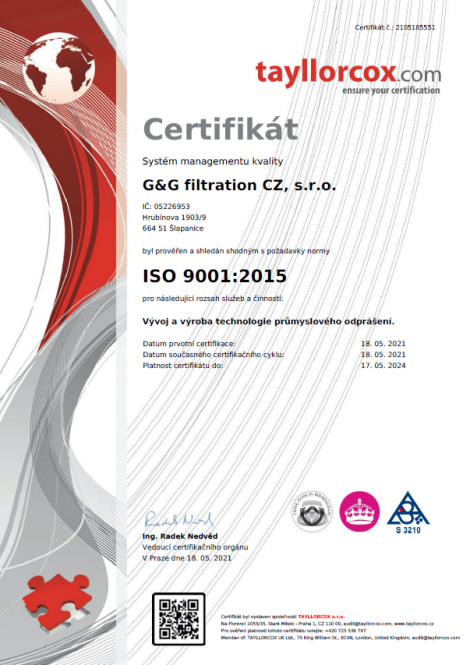ISO 9001: 2015 Development and production of industrial dedusting technology.
